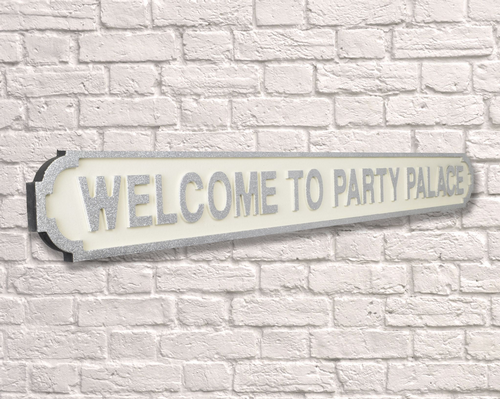 Welcome to Party Palace Vintage Road Sign / Street Sign Silver Glitter